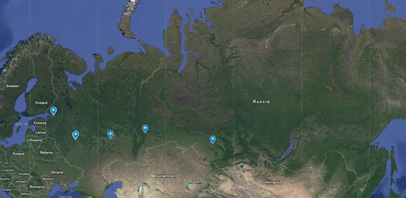 نقشه دانشگاه های روسیه