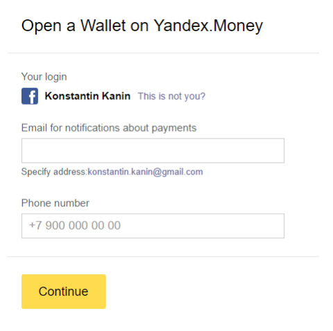حساب Yandex Money